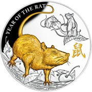 Niue Island YEAR OF THE RAT-MOUSE series LUNAR CALENDAR $8 Silver coin 2020 Gold plated Proof 5 oz
